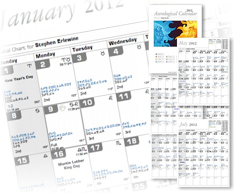 Astrological Personal Calendar Without Interpretations